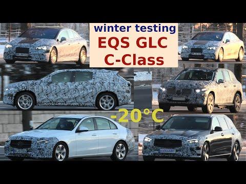 Mercedes Erlkönig Testfahrten bei -20° C * Winter testing * EQS * EQS SUV* * C-Class C-Klasse * GLC