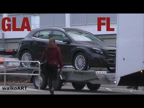 Mercedes Erlkönig GLA Facelift X156 Modellpflege 2017 Transport - on the trailer 4K-SPY VIDEO