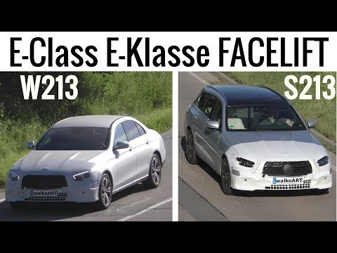 Mercedes Erlkönig E-Class E-Klasse FACELIFT W213 + S213 mit Powerdomes - from above 4K SPY VIDEO