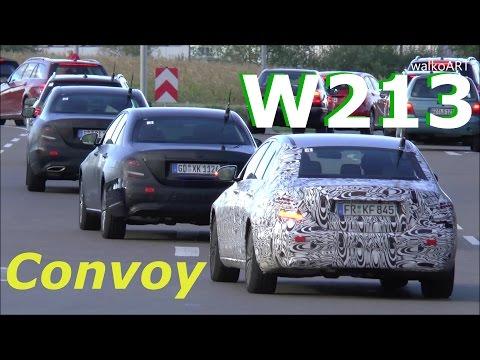 Mercedes E-Class 2017 prototypes convoy - Mercedes E-Klasse 2016 Erlkönige Konvoi W213 SPY VIDEO