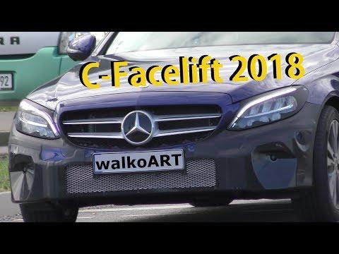 Mercedes Erlkönig C-Klasse C-Class Facelift W205 neue Scheinwerfer - new headlights 4K SPY VIDEO