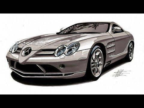 Realistic Car Drawing - Mercedes Benz SLR McLaren - Time Lapse