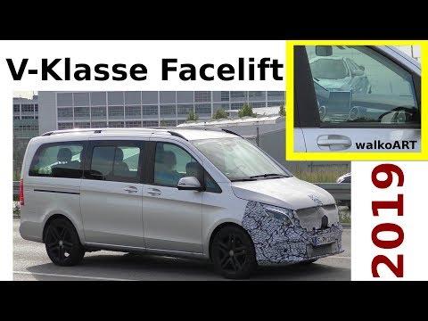 Mercedes Erlkönig V-Klasse Facelift V-Class 2019 larger Display größer W447 - 4K SPY VIDEO