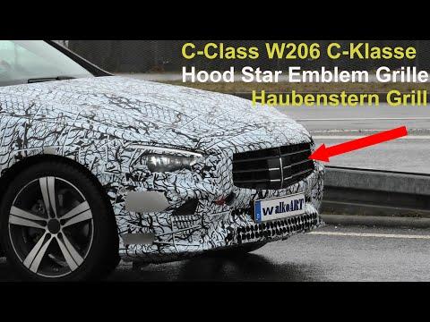 Mercedes Erlkönig C-Klasse C-Class W206 Haubenstern Grill? Grille for Hood Star Emblem? 4KSPY VIDEO